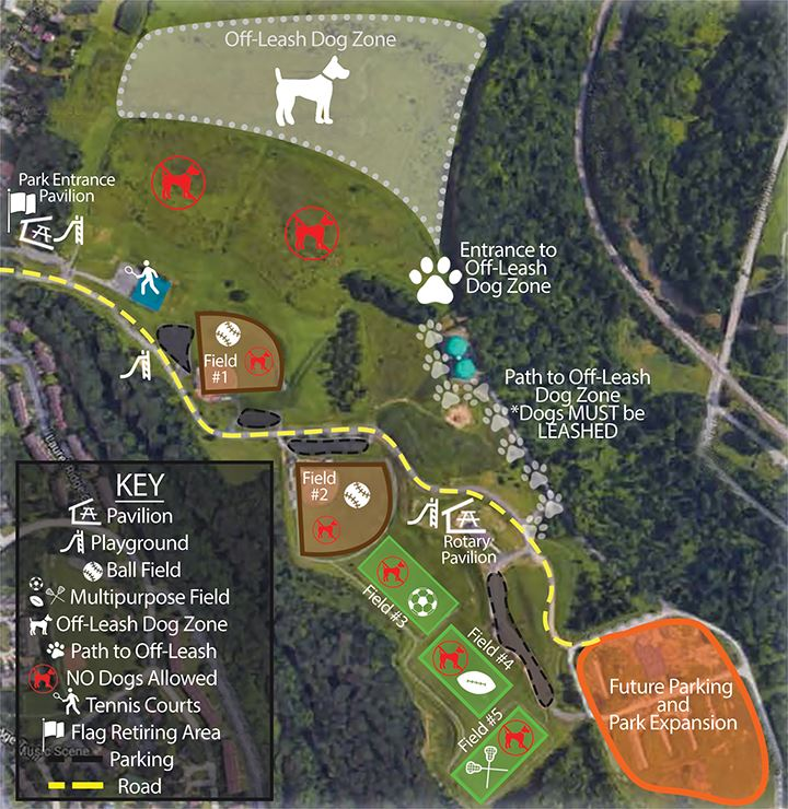 Fairview Park Off-Lease Dog Zone Map