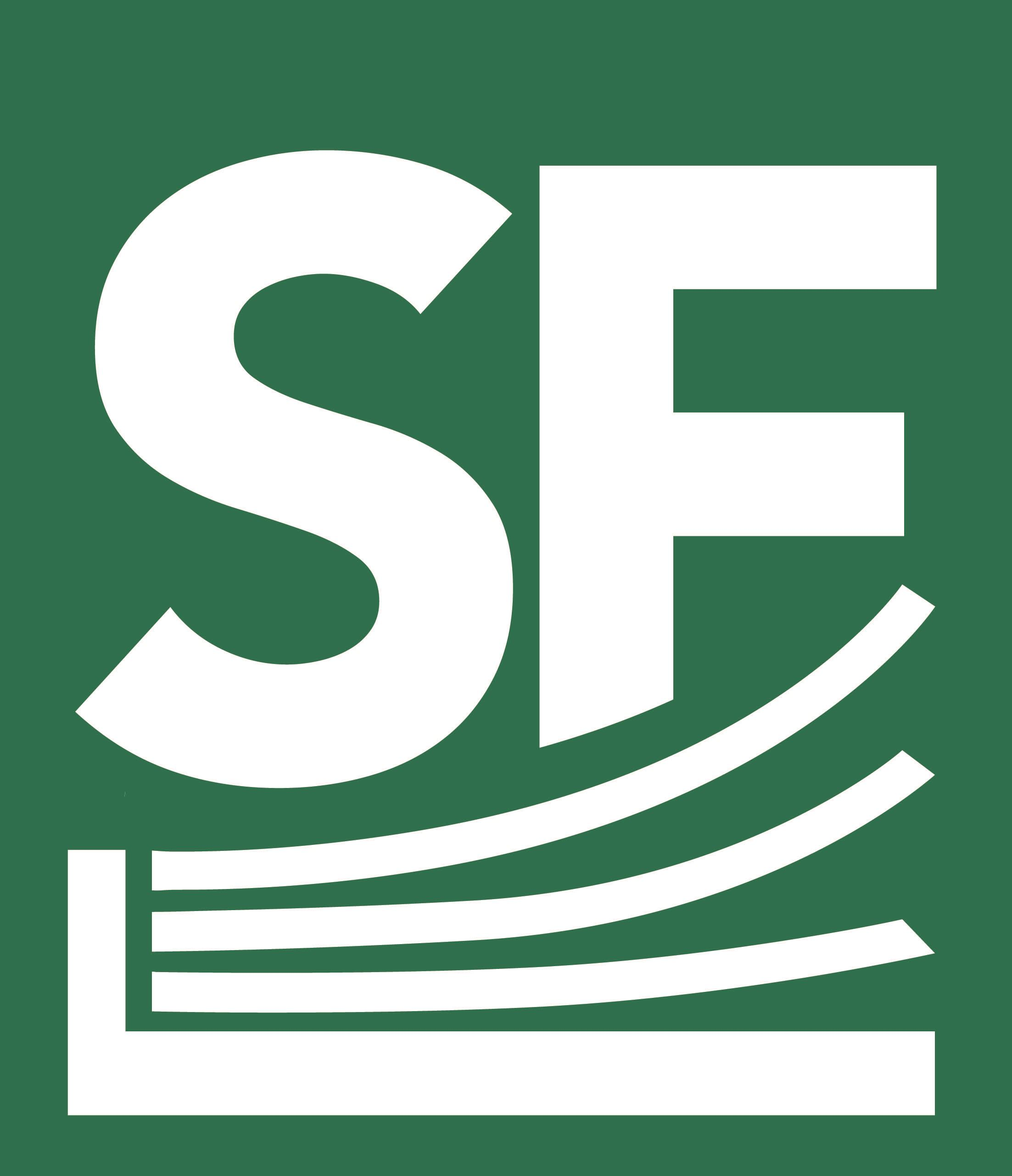 South Fayette Library Icon letters S and F with book image and green background