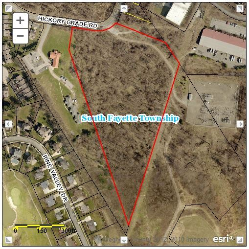Hickory Grade Road Parcel satellite map from Allegheny County Real Estate website