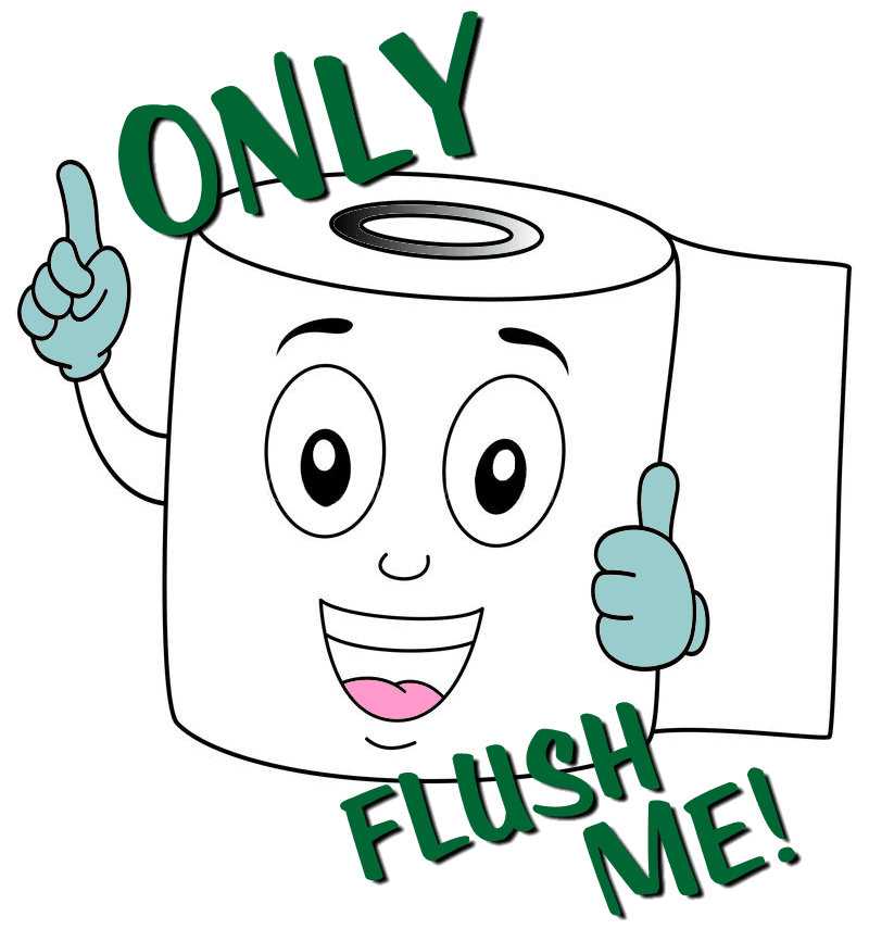 only flush me message with picture of a roll of toilet paper