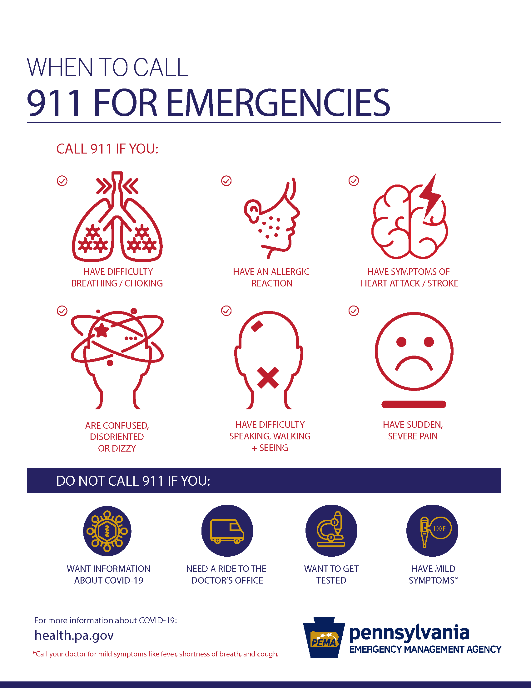 When to call 911 for COVID-19