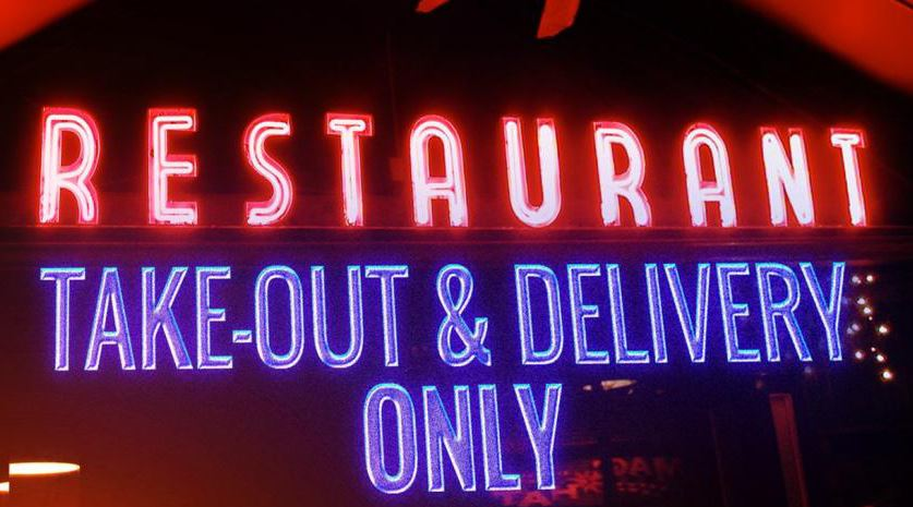 Neon sign restaurants takeout delivery