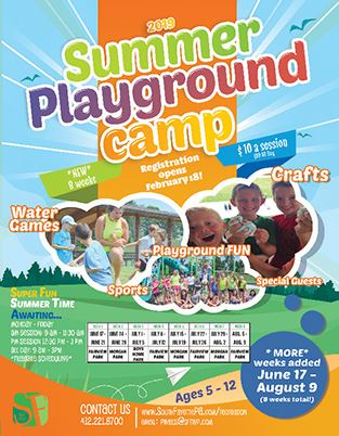 Summer Playground Camp 2019 Flyer with photos of children and a table listing dates and times of ses