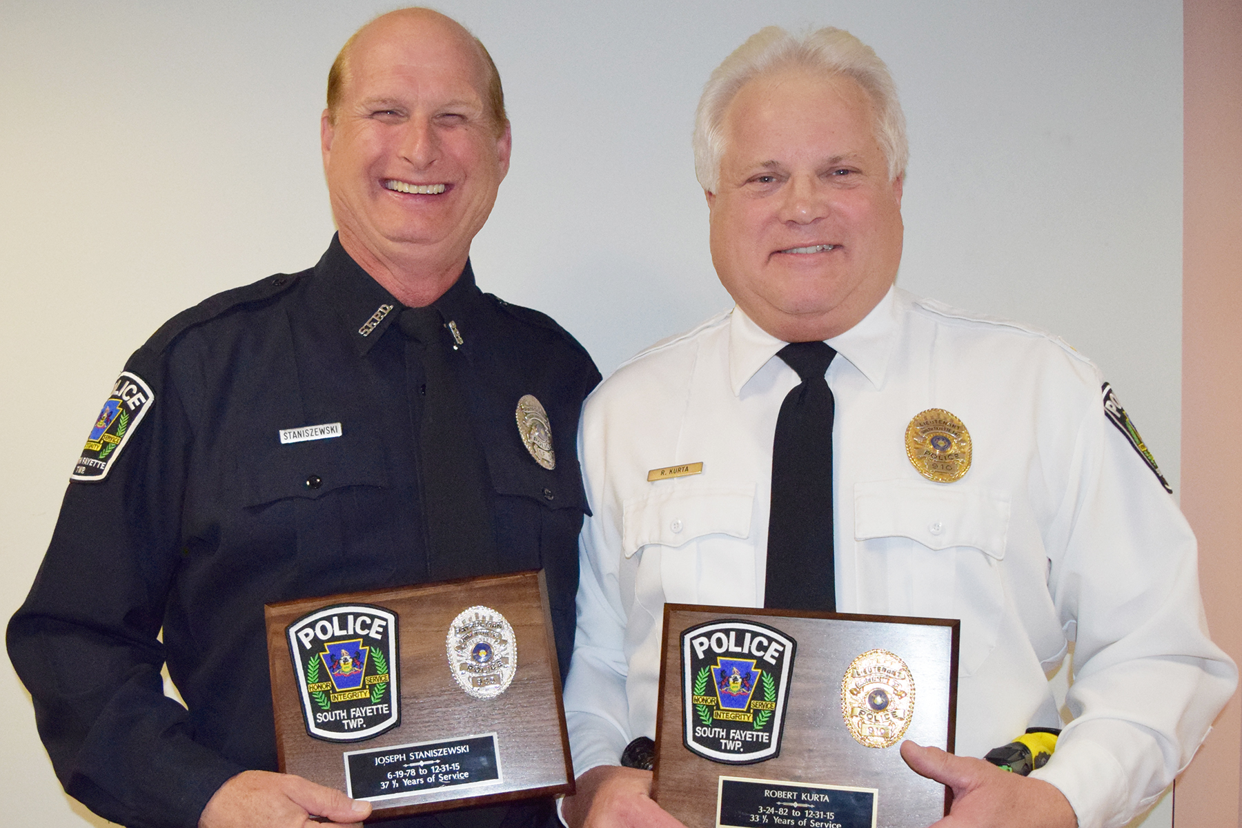 Police retirees Joe Staniszewski and Bob Kurta